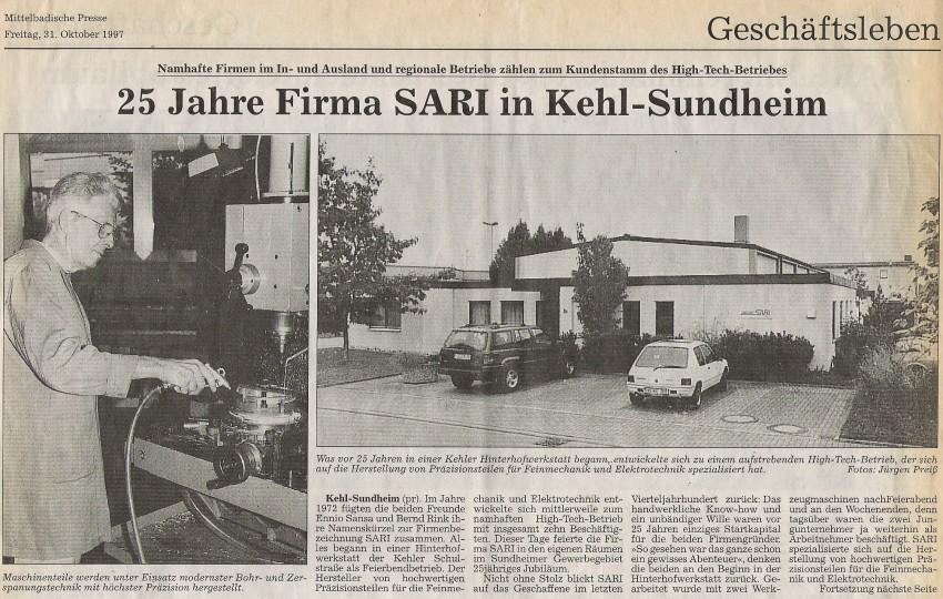 25 Jahre Firma SARI in Kehl-Sundheim